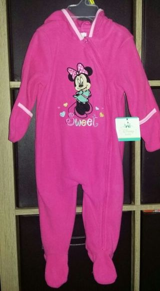 9a15a01ef FREE: NEW with tags Disney Baby MINNIE MOUSE size 6/9 months pink footed  plush sleeper ♡♡