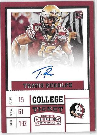 2017 Panini Contenders Draft Picks #121 Travis Rudolph ~ On card Autographed