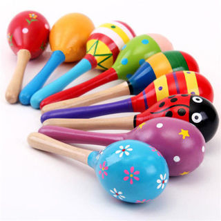 2PCs New Cute Baby Kids Sound Music Gift Toddler Rattle Musical Wooden Colorful Toys