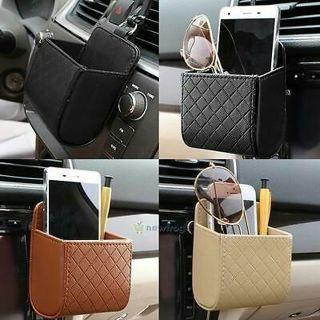 Auto Car Outlet Vent Trash Box PU Leather Mobile Phone Holder Debris Pouch Bag