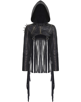 NEW SMALL WOMEN'S Punk Rave Dystopia Hooded Shrug Jacket Dieselpunk Post Apocalyptic pleather - NWT