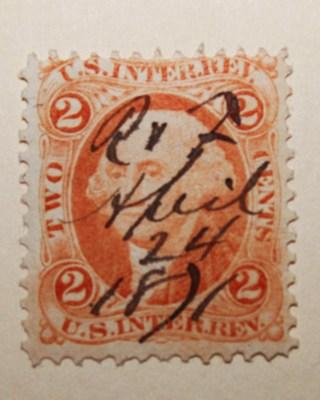 1862 1871 US Internal Revenue 2 Cent Washington Stamp Hand Cancel Date April 24th