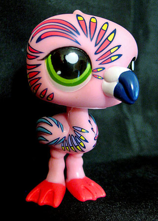 Littlest Pet Shop Feathered Tattooed Pink Flamingo - RARE!