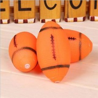 Rubber Orange Rugby Ball Shape Pet Dog Chew Toy Pet Squeaky Toy Pet Supplies