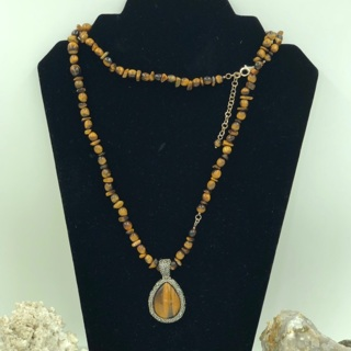 925 STER Silver Long Beaded Necklace & Pendant