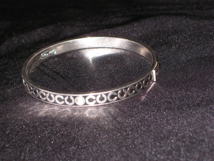 Authentic Coach Silver Thin Op Art Rhinestone Bangle Bracelet Black 78 00 Retail