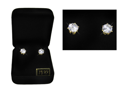 SIMULATED DIAMOND STUD BOXED EMERALD or ROUND DIAMOND or AMETHYST STONES NEW SELECT SHAPE & COLOR!