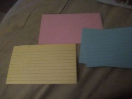 Yellow / pink /blue index cards