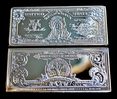 Free: .999 FINE SILVER OVER COPPER BAR 1899 $5 INDIAN CHIEF SILVER ...