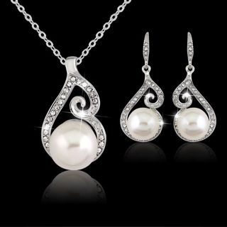 Women's Wedding Bridal Pearl Jewelry Set Rhinestone Crystal Necklace + Earring