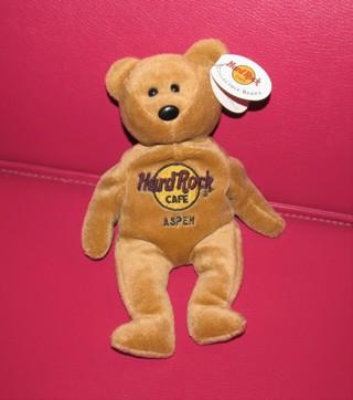 Hard Rock Cafe 'Aspen' Beanie Bear Stuffed Plush Toy