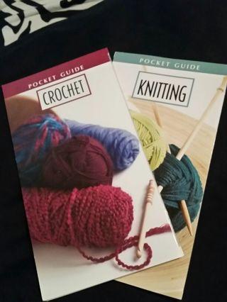 Crochet & knitting pocket guides + hook!