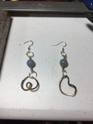 Earrings with beads and charm brass