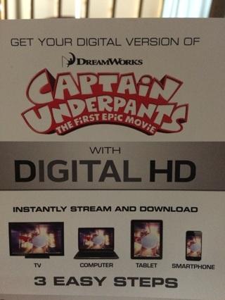 Captain underpants digital hd movie code