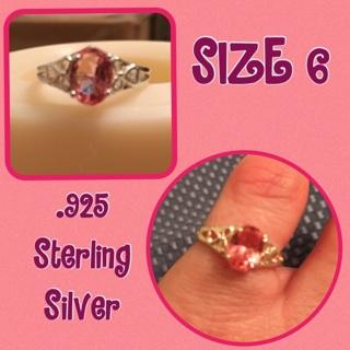 New .925 Pink Gemstone Ring