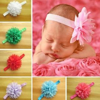 10pcs/lot Newborn Baby Girl's Chiffon Flower Toddler Elastic Headbands Hairband