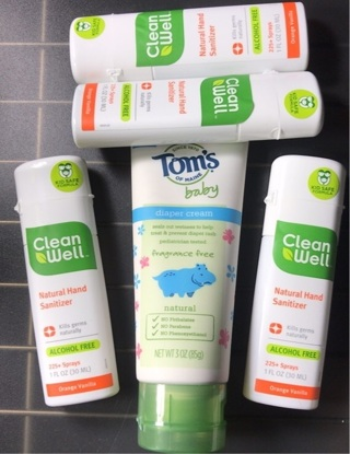 Alcohol free natural hand sanitizer (4) & tom's of Maine baby diaper cream (1)