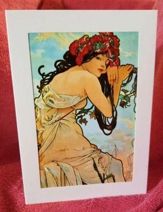"""Summer""A.Mucha card Art print blank 5x7 New Free Ship"