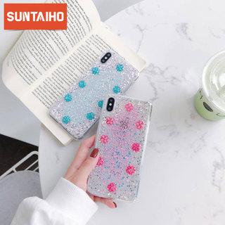 Glitter Bling Sequins Flowers Case For iphone XR 8 7 Plus 6 6s Bling Star Transparent Case For