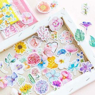 90Pcs Flowers Stickers Kawaii Stationery DIY Scrapbooking Journal Cute Stickers
