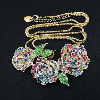 ❤️Betsey Johnson Multi-color Crystal Roses Necklace -NEW
