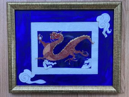 Original Watercolor: Asian Fire Dragon
