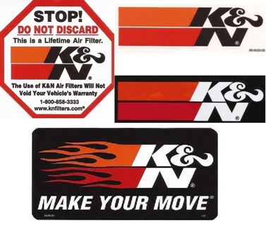 FOUR (4) K&N Performance Filter Stickers / Decals Lot