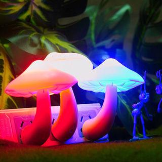 Colorful Energy Saving Mushroom LED Night Light Sensor Control Lamp Bedside Wall