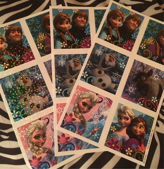 3 sheets Disney's Frozen Sparkly Stickers