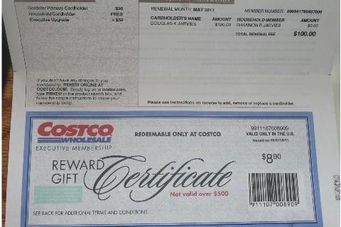 Costco Reward Gift Certificate 890