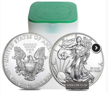 Full Roll of 20 Random Year American Silver Eagle $1 Coins - 999 Fine Silver