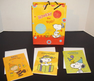 New SNOOPY DAYSPRING CHRISTIAN GIFT BAG 3 BIRTHDAY CARDS W Scriptures Schultz