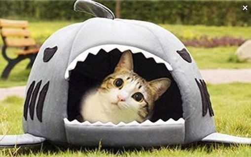 NEW Cute Shark Round House Cat Bed Cave Kitties Puppy Pet Pigs Bed with Pet Bed Mat FREE SHIPPING