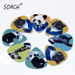 SOACH 10PCS 1.0mm high quality guitar picks two side Animal gentlemen picks earrings DIY Mix picks