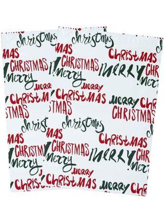 "Poly mailer 10"" X 13"" (1) Merry Christmas"