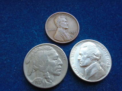 1927-D 1937 & 1945-D  OLD U.S. COINS WITH SILVER...FULL DATES!