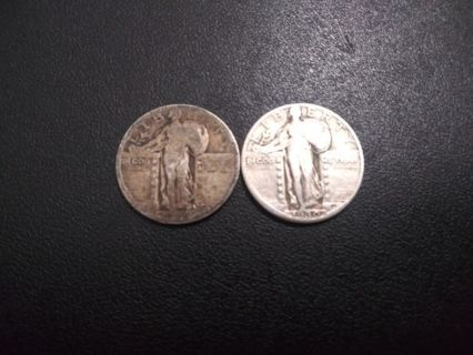 x2 90% Silver Standing Liberty Quarters 1925 & 1930