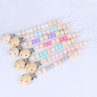 Baby Newborn Pacifier Clip Nipple Silicone Wood Beads Teether Dummy Chew Tool