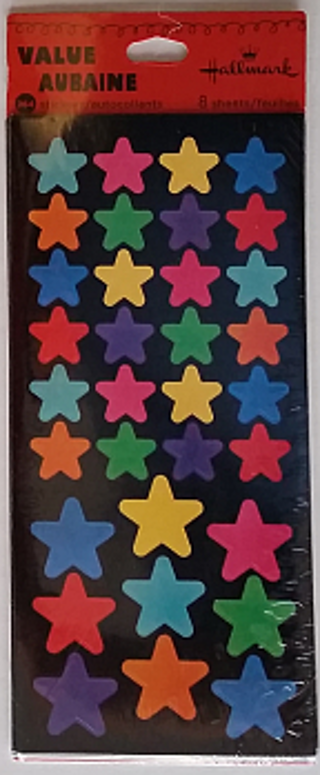 Hallmark - Very Colorful Stars on Black background - full pack