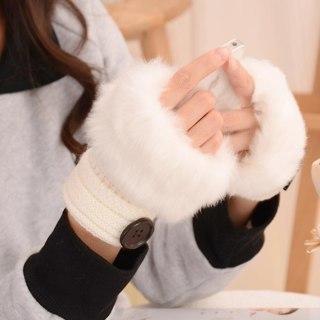 [GIN FOR FREE SHIPPING] Winter Warm Women Button Faux Fur Knit Crochet Fingerless Gloves