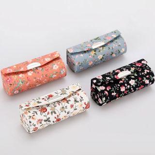 Women Flower Design Small Portable Lipstick Case Holder Box Mirror