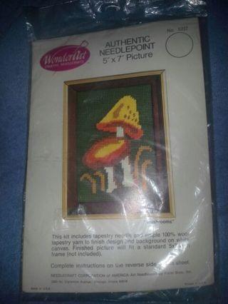 Vintage Authentic 5×7 Needle Point Mushroom Design