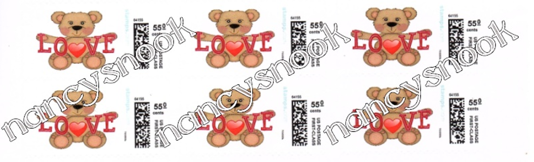"6 count of Official USPS 55 cent postage stamps ""Love Bear"""