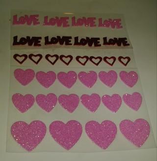 VALENTINES HEARTS GLITTER FOAM RUBBER STICKERS