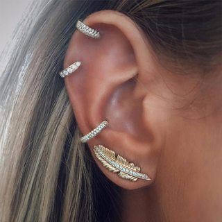 4 Pcs/Set Women Bohemian Gem Crystal Leaf Geometric Round Gold Ear Clip Shining Ear Studs