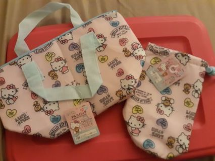 Kawaii Sanrio Licensed Hello Kitty Lunch Set + My Melody Ziplock Bags!☆LOWERED GIN☆