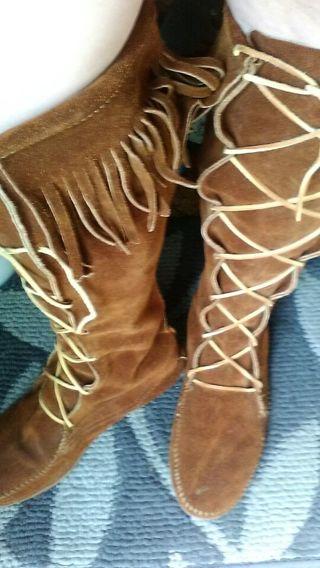Women's Minnetonka Moccasin Boots - Calf to Knee height! ~Size 9 ~ LQQK!