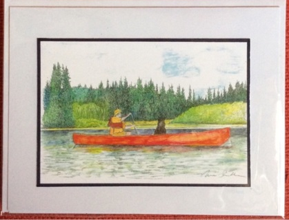 """CANOEING THE CHENA - 5 x 7"""" art card by artist Nina Struthers - GIN ONLY"""