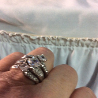 Three sterling Silver  (Silver Color) Ring as a one Set Ring Size 7.