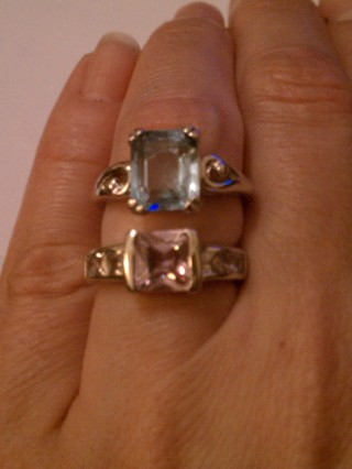 2 beautiful rings purple and blue stones size 6